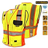 KwikSafety Class 2 Supreme Executive Safety Vest | Yellow Hi Vis Mesh, Heavy Duty Zipper & Multi Pocket | Men Women ANSI Certified High Visibility Construction Security Traffic Work Wear | L/XL