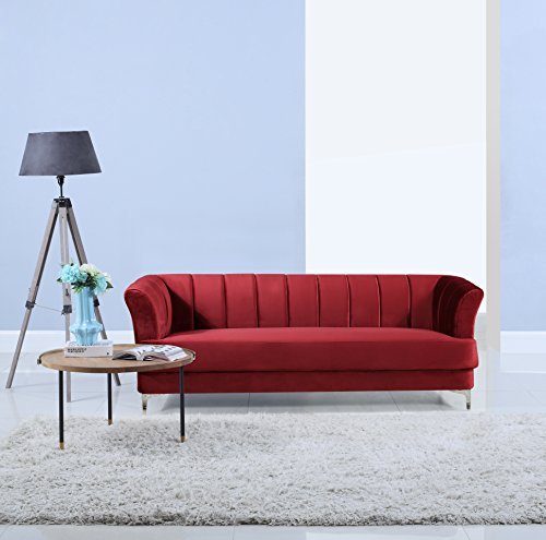 51%2B9UO2wfuL - Elegant Classic Living Room Velvet Sofa - Colors Blue, Green, Grey, Red (Red)