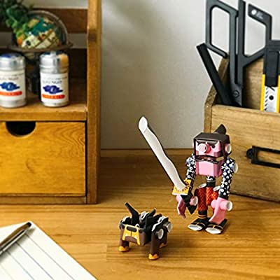 PIPEROID DIY Paper Craft Kit Kojiro & Butcher Samurai & His Bulldog - Japanese Arts and Craft Kit for Kids and Adults - Birthday Gift and Party Favor for 3D Puzzle and Origami Paper Craft Enthusiasts: Toys & Games