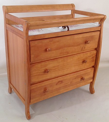 Angel Line Sleigh Changer with 3 Drawers - Oak by Angel Line