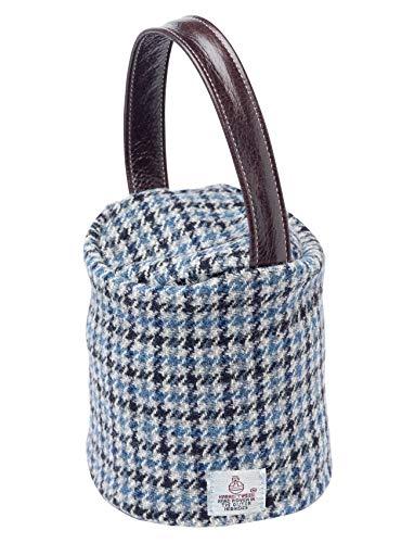 Harris Tweed Doorstop Cover Pure New Wool Door Stopper Outer Leather Handle (Cobalt Houndstooth) (Tweed Pure Wool)
