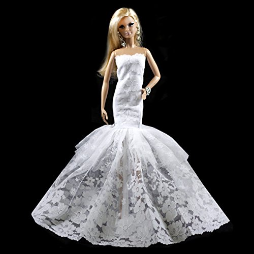 - Peregrine White Multitextured Lace Strapless Gown Fits For Barbie Doll