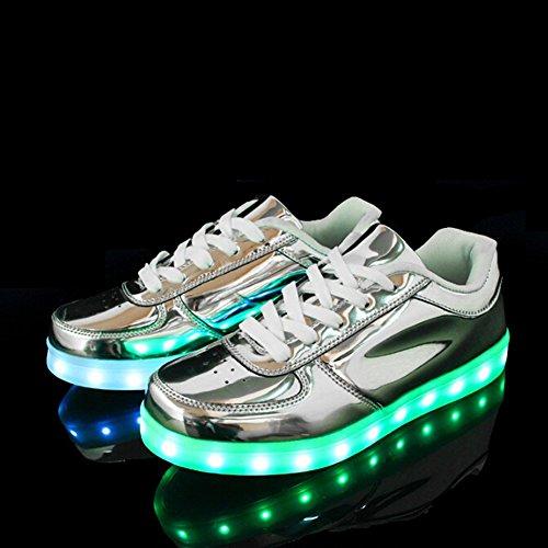 KALEIDO ShinyNight USB Lade 11 Farben LED Leuchten Schuhe Mode Turnschuhe Sportschuhe Für Herren Frauen Mädchen Jungen Silber