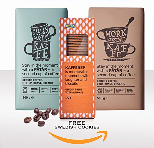 IKEA Patar Organic Whole Organic Coffee Beans UTZ Certified (Combined Medium and Dark Roast 2pack, 17.7oz ea) + Free IKEA Swedish Ginger Snaps Cookies