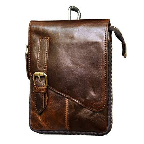 Le'aokuu Mens Genuine Leather Fanny Sling Messenger Shoulder Satchel Waist Bag Pack (Satchel Travel Bag)