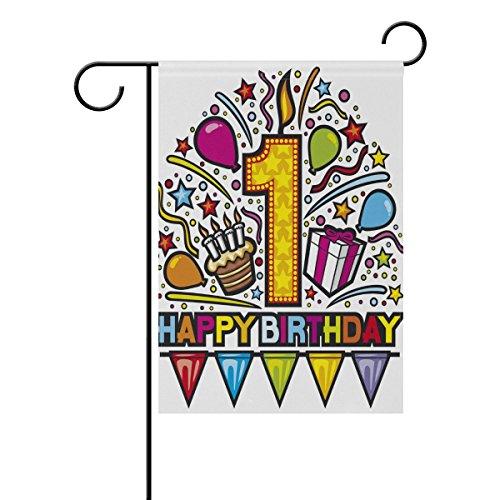 ALAZA Happy Birthday Garden Flag Double Sided Home Decorative, 1st Baby Birthday Design House Yard Flag, 12 x 18 Inch New Born Child Party Birthday Banner Outdoor Flag Best Birthday ()