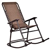 Goplus Folding Rocking Chair Recliner w/Headrest Patio Pool Yard Outdoor Portable Zero Gravity Chair for Camping Fishing Beach (Dark Brown)