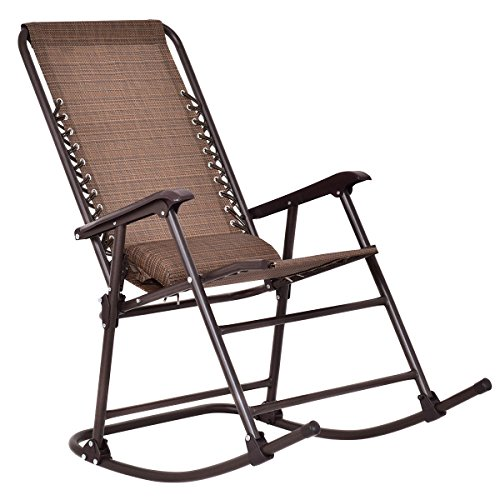 Goplus Folding Rocking Chair Rocker Porch Indoor Outdoor Patio Furniture w/ Headrest