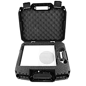 CASEMATIX Travel Case Compatible with Xbox One S – Hard Shell Xbox One S Carrying Case with Protective Foam Compartments for Console, Controller, Power Adapter, Games and More Accessories