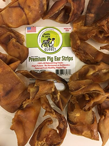 Whole Basted (NEW! 1LB Pig Ear Strips for Dogs Made in USA~Natural, Non-Basted GRAIN-FREE Dog Chews without Artificial Flavor Enhancers, Antibiotics or Growth Hormones~PIG EAR SLIVERS by Sancho and)