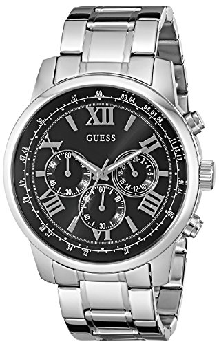 GUESS Men's U0379G1 Dressy Silver-Tone Stainless Steel Multi-Function Watch with Chronograph Dial and Deployment Buckle