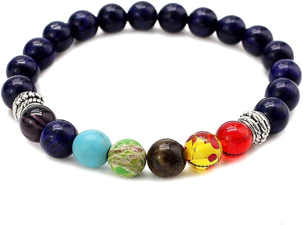 Pulsera unisex de piedra natural con ojo de tigre, ágata, turquesa, perlas de chakra, energía multicolor.