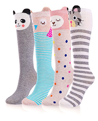 Stocking Kids (Girls Socks, 4 Pairs Cotton Over Calf Knee High Socks (Cartoon Animal Panda Cat Bear Fox))