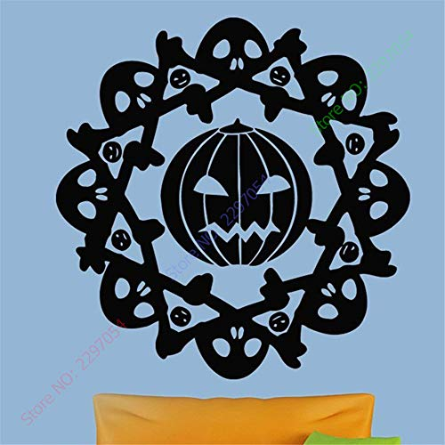 Wall Stickers Decor Motivational Saying Lettering Art Happy Halloween Sign Pattern Pumpkin in Circle Skulls Room Carving Sticker for Holiday Party ()