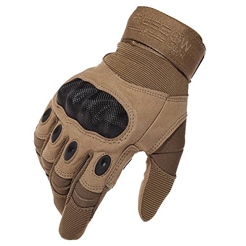 Reebow Gear Military Hard Knuckle Tactical Gloves Full Finger for Army Gear Outdoor Sport Work Shooting Airsoft Paintball Hunting Riding Motorcycle Brown L