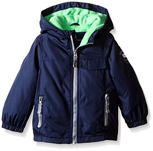 London Fog Little Boys Poly Fleece Lined Windbreaker, Navy/Green, 7 ()