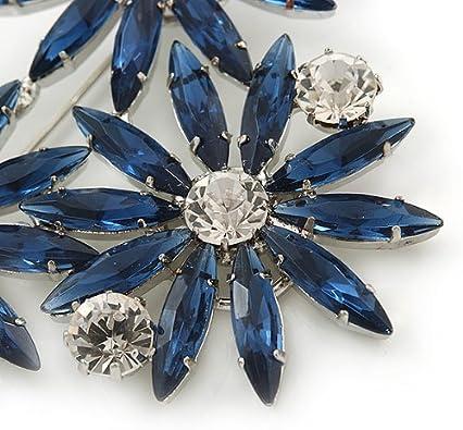 Cobalt Blue Clear Triple Flower Corsage Brooch In Silver Tone 75mm Across
