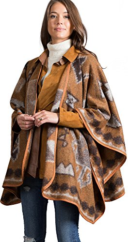Overland Sheepskin Co. Mariana Leather-Trimmed Alpaca Wool-Blend Blanket Poncho, Brown, Size 1 Size by Overland Sheepskin Co