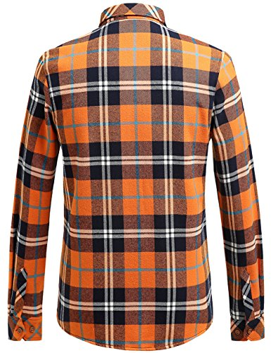 SSLR Camisa Franela a Cuadros Hombre para Invierno Naranja