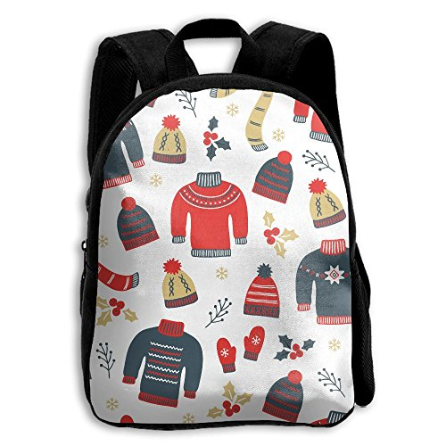 Sweater Knit Hat Scarf Gloves School Backpack Children Printed Oxford Fabric Backpack Bag