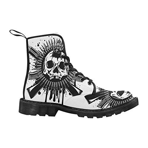 Interestprint Mode Chaussures Crâne Impression Lace Bottes Pour Les Femmes Semelle Noire
