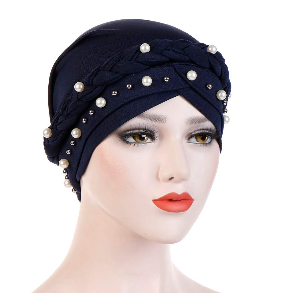 SANFASHION 2019 Gift For Girlfriend Wife Women Solid Plait India Hat Muslim Ruffle Cancer Chemo Beanie Turban Wrap Cap