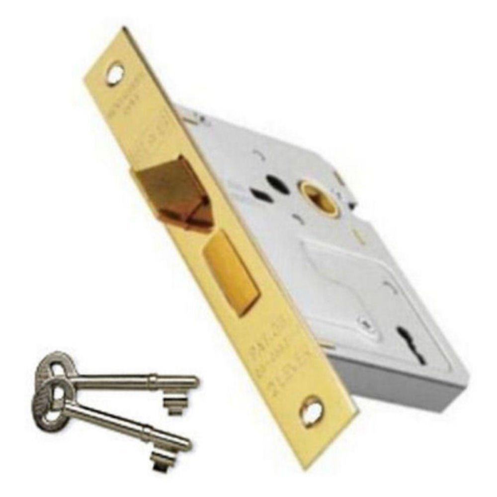 3 Lever Mortice Sash Lock 76mm Brass Finish + 2 Keys Dale Hardware