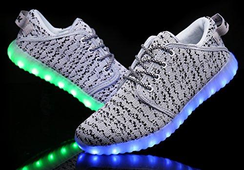 Mohem Shinynight Scarpe Alte Alte A Led Illuminano Le Sneakers Lampeggianti Bianche Lampeggianti White018