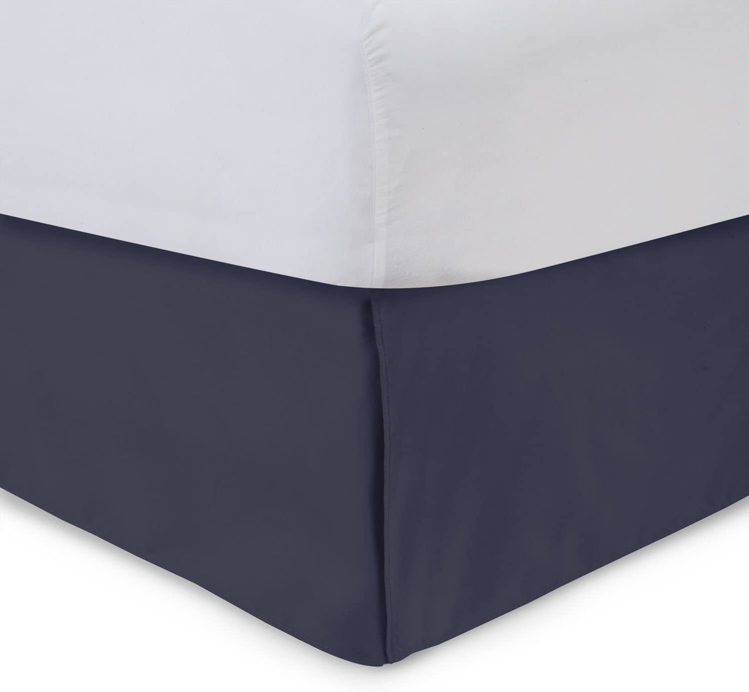 Tailored Bed Skirt - Twin XL, 14 inch Drop, Cotton Blend , Navy, Bedskirt with Split Corners(Available in and 16 Colors) Blissford