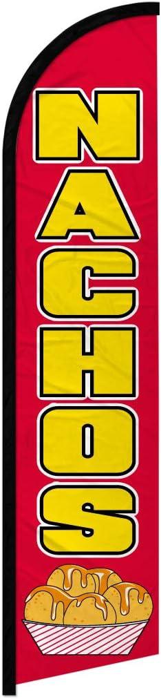 Infinity Republic - Nachos Windless Full Sleeve Banner Swooper Flag - Perfect for Restaurants, Carnivals, Food Trucks, Markets etc!