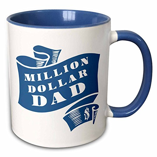 3dRose Russ Billington Designs - Teal Million Dollar Dad Scroll in Rough Woodcut Style - 15oz Two-Tone Blue Mug (mug_220320_11) ()
