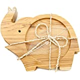 IYARA CRAFT Wooden Coasters for Drinks Tea Cups Saucers,Table topper decoration set (Elephant lift trunk (Wood))