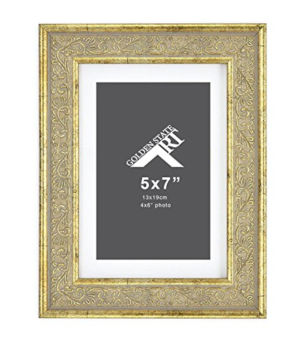 Golden State Art,5x7 Frame for 4x6 Photo with White Mat, Table-Top Easel Stand, & Real Glass (Vertical + Horizontal) (Light Gold Pewter with Ornate Panel) (Picture Gold Frames Ornate)