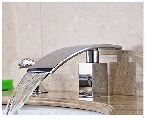 Gowe Bathroom Sink Faucet With Dual Handles Widespread 3pcs Waterfall Spout Mixer Tap Chrome Polished 3