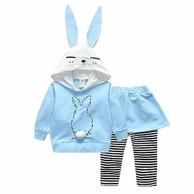 Yanhoo Traje de Pantalones de Falda de suéter con Capucha Conejo de Dibujos Animados niñas Trajes