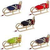 Pinolino Hörnerschlitten Schlitten aus Holz mit Zugseil, Rückenlehne & Fußsack