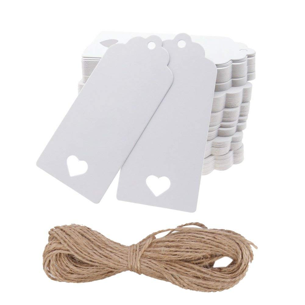 Hemore 100pcs Rectangle /& # X153; Heart White Kraft Cardboard Paper Label Price Gift Cards for Birthday Party Wedding Decoration with Jute Twine Brown