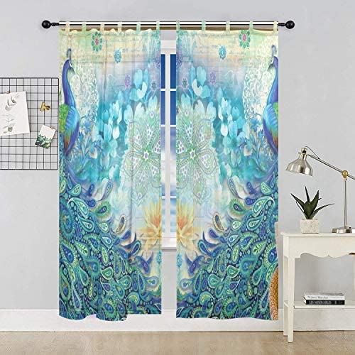 Deal of the week: ALAZA Bedroom Decor Living Room Decorations Peacock Pattern Print Tulle Polyester Door Window Gauze / Sheer Curtain Drape Two Panels Set 55×78 inch ,Set of 2