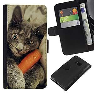 Chartreux Cat Russian Blue Funny Kitten - la tarjeta de Crédito Slots PU Funda de cuero Monedero caso cubierta de piel HTC One M7