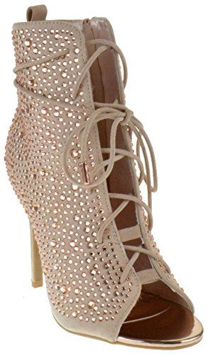 Wrap Around Zipper (Anne Michelle Royals 58S Womens Rhinestone Open Toe Stiletto Sandals Rose Gold 5.5)