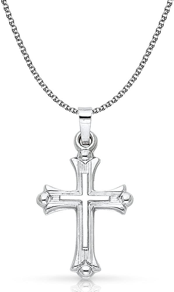 14K Yellow Gold Crucifix Stamp Charm Pendant with 1.7mm Flat Open Wheat Chain Necklace