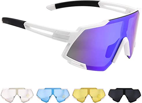 Gafas de Sol Deportivas,CrazyFire Pantalla Grande Ciclismo Gafas Deportivas UV 400 Protección Gafas Deportivas Polarizadas con 5 Set De Lentes Intercambiables para Ciclismo, béisbol, Pesca, esquí: Amazon.es: Deportes y aire libre