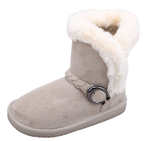 Kids Winter Boots Warm Sherpa Lined Faux Fur Girls Snow Boots Cream -
