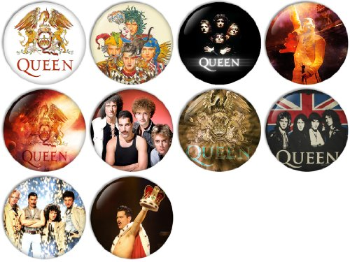 (Queen Pinback Buttons Badges/Pin 1 Inch (25mm) Set of 10 New)