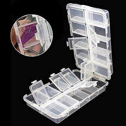 OriGlam Caja organizadora de plástico con divisores ajustables, caja de almacenamiento de aparejos de pesca, con 20 compartimentos: Amazon.es: Deportes y aire libre