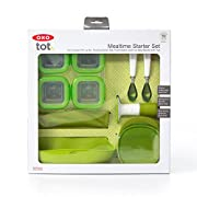 OXO Tot Mealtime Starter Value Set with Roll-up Bib, Feeding Spoons, Food Masher and Four 4oz Baby Blocks Freezer Storage Containers