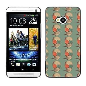 iKiki-Tech Estuche rígido para HTC One M7 - Skull And Rose
