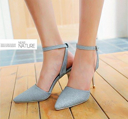 Sandali Stiletto Chfso Moda Donna Con Cinturino Alla Caviglia E Scarpe Con Punta A Punta Blu