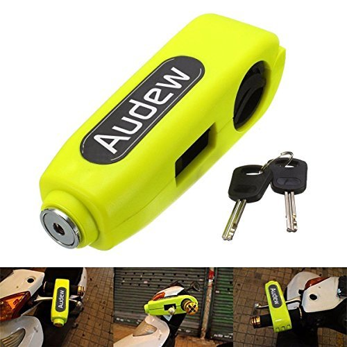 Audew Motorcycle/Scooter/ATV/Handlebar Grip Lock,Anti-theft Brake Lever Security Lock, Throttle Grip Lock Yellow
