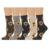 Women's Sunflower Print Crew Socks - (5 pair set) (One Size (5-8), Multi)